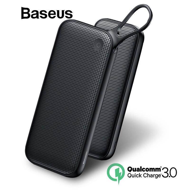 Baseus banco de potencia 20000 mAh carga rápida 3,0 banco de potencia portátil de doble USB cargador de teléfono móvil para iPhone X 8 Samsung
