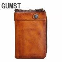 GUMST Men Wallet Male Genuine Leather Men's Wallet Vintage walet Male credit card holder Coin Purse Men Genuine Leather Bag