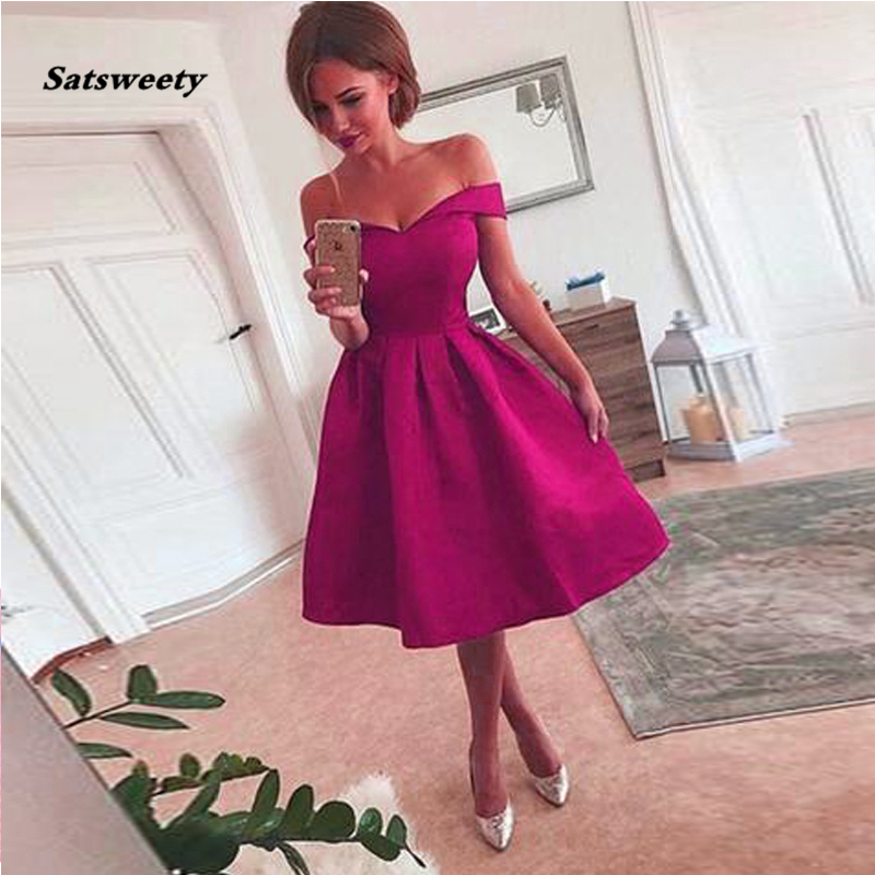 Off The Shoulder Red Short   Prom     Dress   Satin Knee Length Midi Evening Gowns Elegant Party   Dresses   Zipper Up