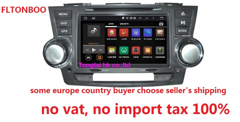 8Android 7.1 for Toyota HIGHLANDER car dvd,gps navigation 3G,Wifi,BT,quad core,1024x600,support obd,dvr,Russian,English