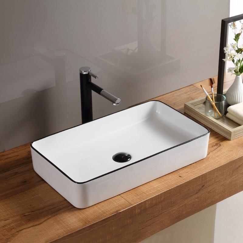 Us 277 0 Ceramic Rectangular Household Bathroom Washbasin White Porcelain Wash Basin Sink In Sinks From Home Improvement