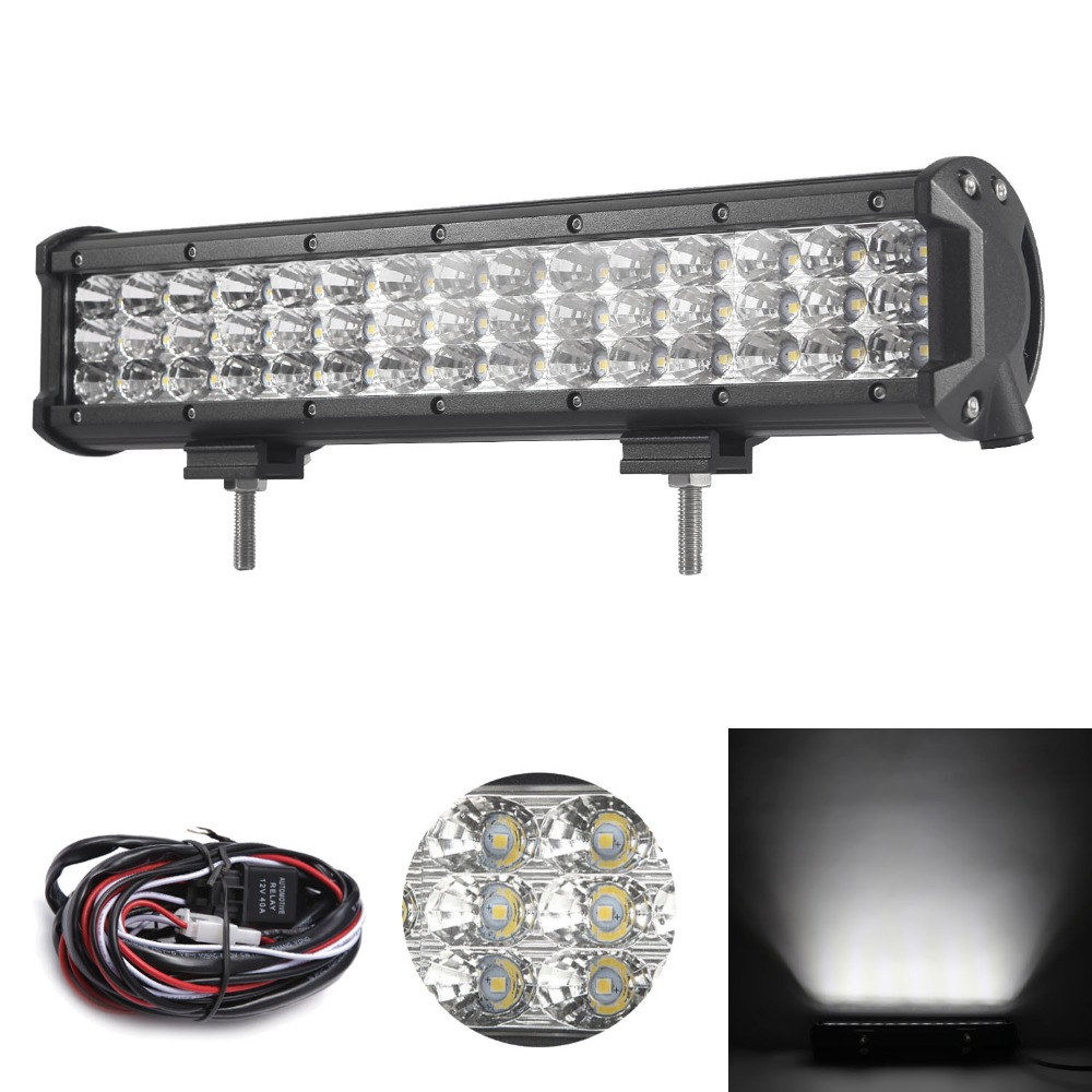 15 inch 180W Tri-Row LED Work Light Bar with Wiring Harness SPOT/FLOOD/COMBO Beam for Jeep Off road 4WD Boat SUV ATV Truck 4X4