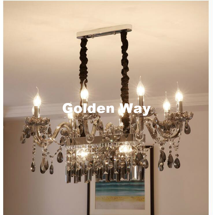Free Shipping Modern Crystal Chandeliers Lighting Lustre de Crystal Smokey Grey Ceiling Lamp Dining room Light Fixtures LED Lamp