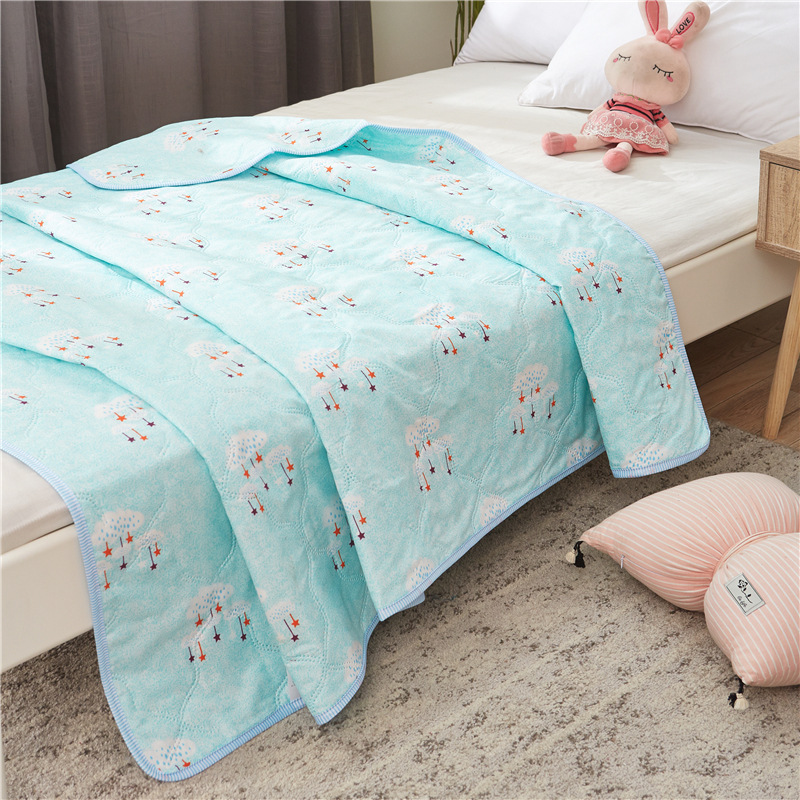 200*230cm Summer Washed Cotton Printing Air Conditioner Is Used By Children Students Summer Single Bed Quilt
