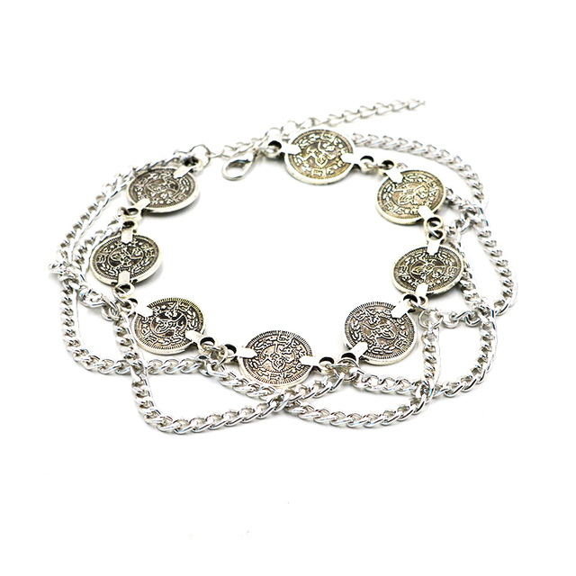 Bohemian Antique Silver Anklet Fashion Coin