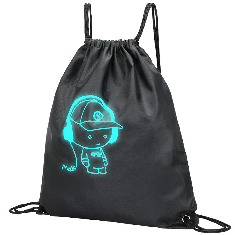 New Luminous Men Women Children Drawstring Backpack Bag