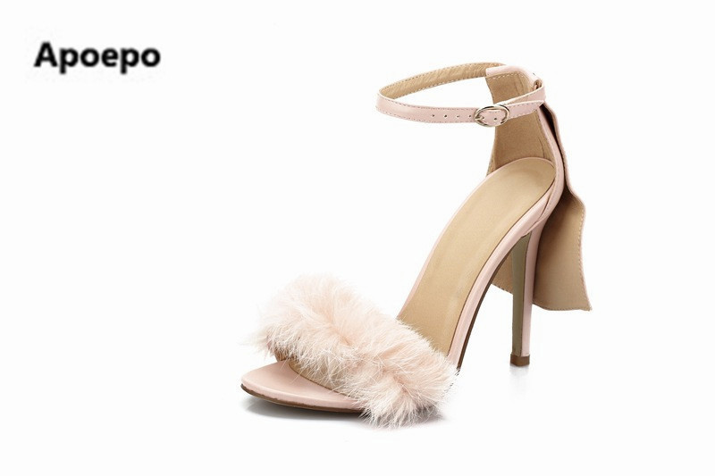 Apoepo hot selling pink women sandals appliques buckle summer pumps thin heels high heels women shoes zapatos mujer big size 42 size 4 9 summer black women shoes elegant white flower high heels shoes cross women pumps zapatos mujer check foot length