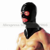 Unisex black and trims red latex mask dress rubber hood with back zip RLM012