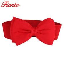 FIONTO 1 PC 2019 Fashion Hot Sweet Women Bowknot Cummerbund Elastic Bow Wide Stretch Buckle Waistband Waist Belt 6 Colors A048