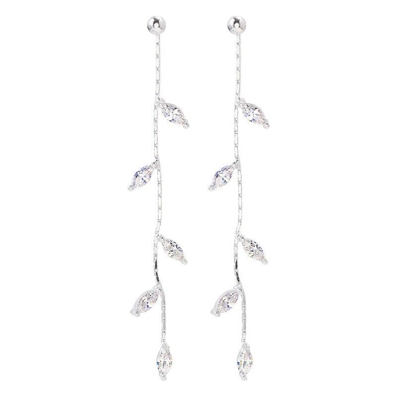 100% 925 Solid Real Sterling Silver Crystal Leaf Tassel Drop Earrings for Women Girls pendientes brincos eh962 2