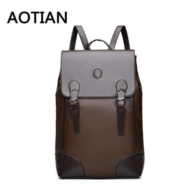 7141821493b Nuevo estilo americano pu cuero mochila hombres moda mochilas equipaje  negro marrón mochila viaje escolar para