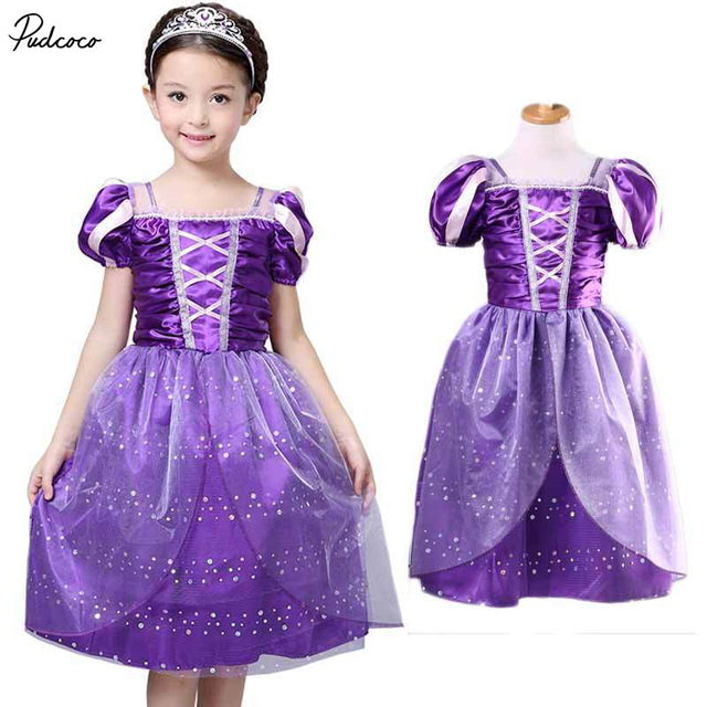 6ff9425de4a2 Girls Rapunzel Fancy Dress Costume Kids Princess Outfit UK Ages  3/4/5/6/7/8/9/10