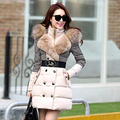 Jaqueta de Inverno Mulheres brasão & jackets Agradável Costura Outerwear Houndstooth Gola De Pele Casaco de médio-longo Casaco de Inverno Mulheres Para Baixo jaqueta