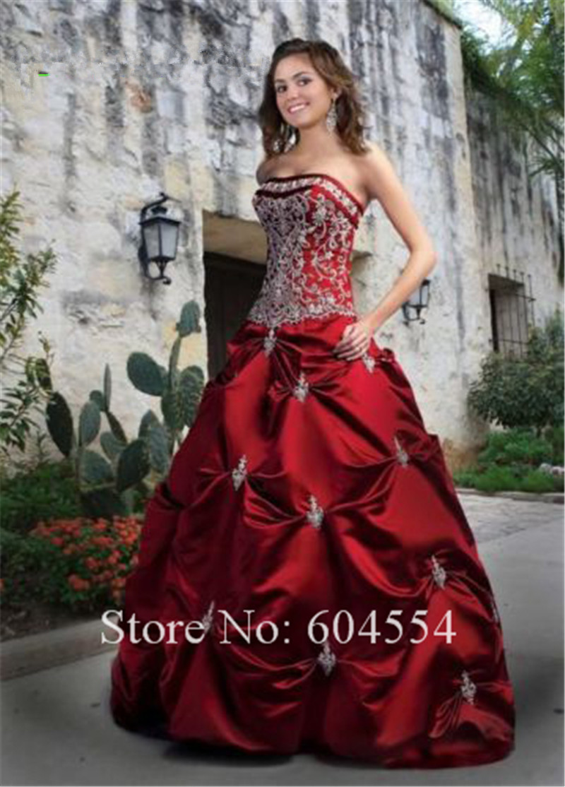 Custom Made Debutante Dress Dark Red Satin Embroidery Beading Ball ...