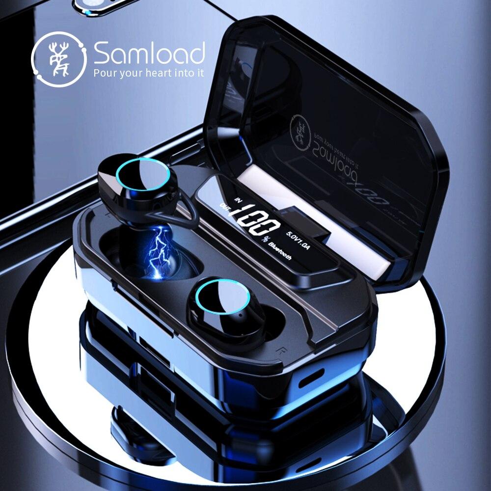 Samload Bluetooth 5.0 Écouteurs Intra-auriculaires HiFi Vrai Sans Fil Casque avec 3300 mAh Boîte De Charge Powerbank Pour iOS Android téléphone