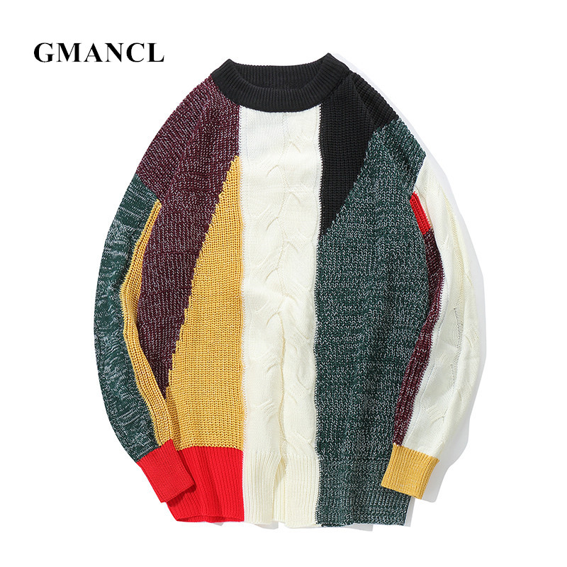 GMANCL Autumn 2018 Mens New Personality Patchwork Hip Hop Sweater Cotton Loose Streetwear Oversized O-Neck Mens Casual Pullover