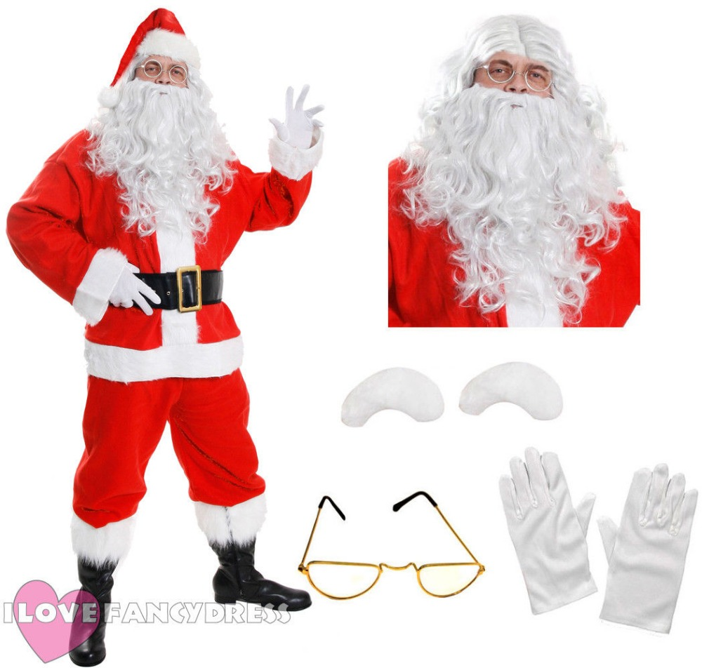 2018 I LOVE FANCY DRESS QUALITY DELUXE SANTA COSTUME 10 PIECE PLUSH FATHER CHRISTMAS FANCY DRESS XMAS S - XXXXXL