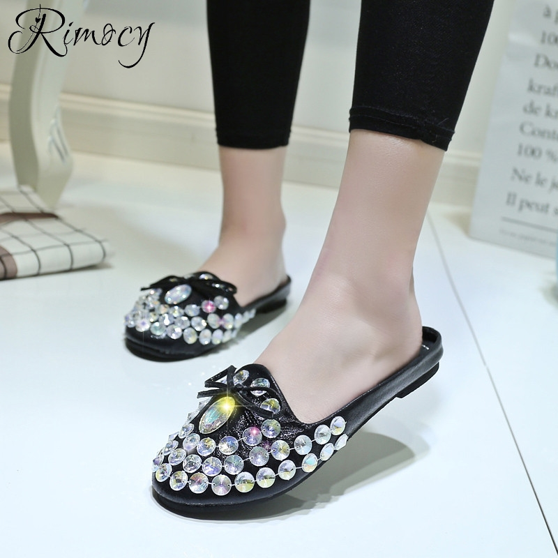 8824dc46e660e Rimocy round toe rhinestone beading women flat heel sandals silver black  bowtie summer casual shoes woman creepers flip flops-in Women s Sandals  from Shoes ...