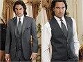 Custom Made Cinza de Carvão Vegetal Do Noivo Smoking Notch Lapela Padrinhos Homens vestidos de Casamento (Jacket + Pants + Vest)