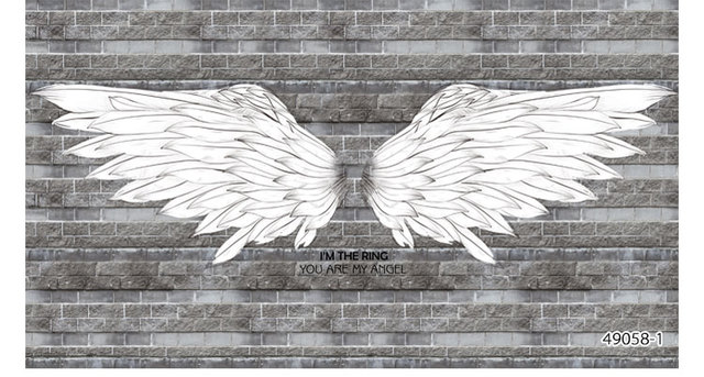 Black And White Angel Wings Brick Background Wallpaper Bar Blackboard Graffiti European Restaurant Coffee Theme