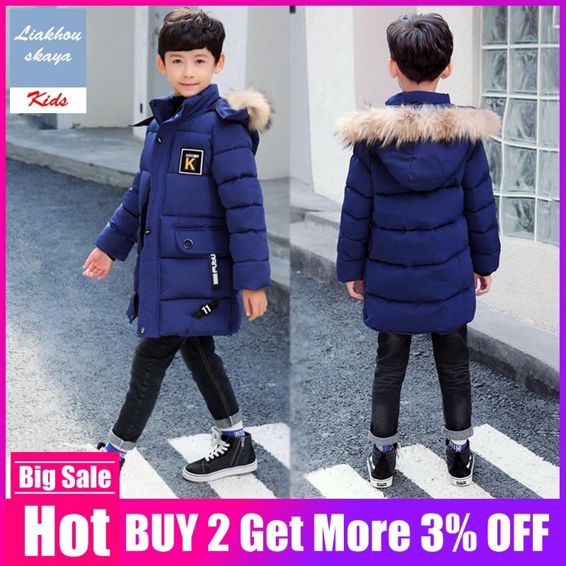 Детская хлопковая куртка Bigs, утепленная куртка для мальчиков до-30 градусов, Корейская версия, зимняя одежда, 2019