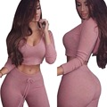 fashion cotton two pieces set women club wear Hoodies sexy crop tops and pencil pants long sleeve two pieces outfits
