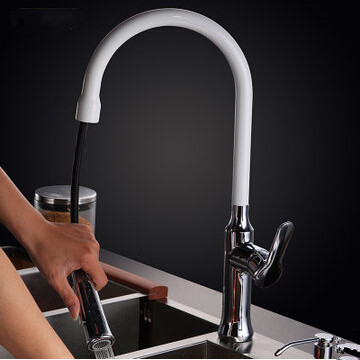 Solid brass pull out kitchen faucet single lever kitchen sink tap basin sink mixer kitchen chrome plated brass faucet single handle pull out pull down sink mixer hot and cold tap modern design