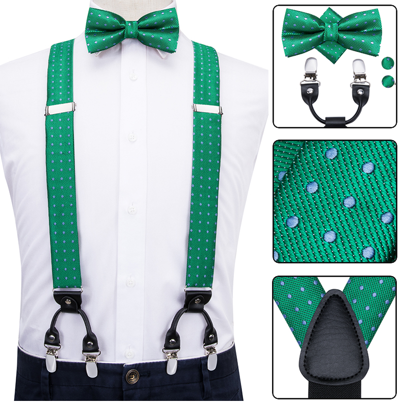 Hi-Tie Silk Adult Men Suspenders Set Leather Metal 6 Clips Braces Vintage Mens Women Wedding Green Elastic Suspensorio