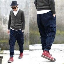 Популярные нескольких карманный узкие джинсы Большой размер улица звезда джинсовые шаровары человек висит промежности брюки супер большой размер свободного покроя брюк