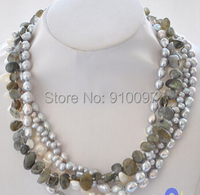 LHX54143>>>>5row 18 gray white baroque rice freshwater pearl Moon stone necklace