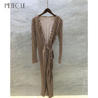 100% Silk Polka Dot Wrap Dress 2018 Pre Fall Fashion Long Sleeve Dot Dress with Elastic Belt 2018 Pre Fall