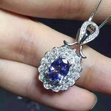 natural blue tanzanite pendant S925 silver Natural yellow crystal  Pendant Necklace trendy  Luxury round women party jewelry