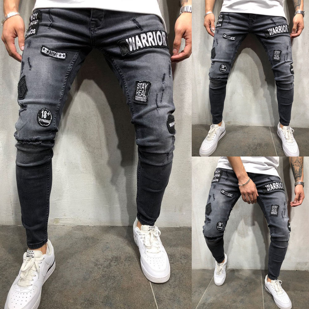 Pants 2018 New Brand Mens Fashion Skinny Stretch Hip Hop Casual  Distressed Ripped Freyed  Pants