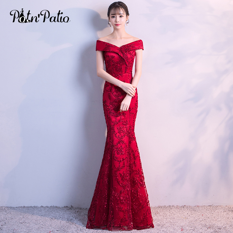 Off The Shoulder Red Mermaid Prom Dresses 2018 Elgant Boat Neck Lace Prom Dresses Long Plus