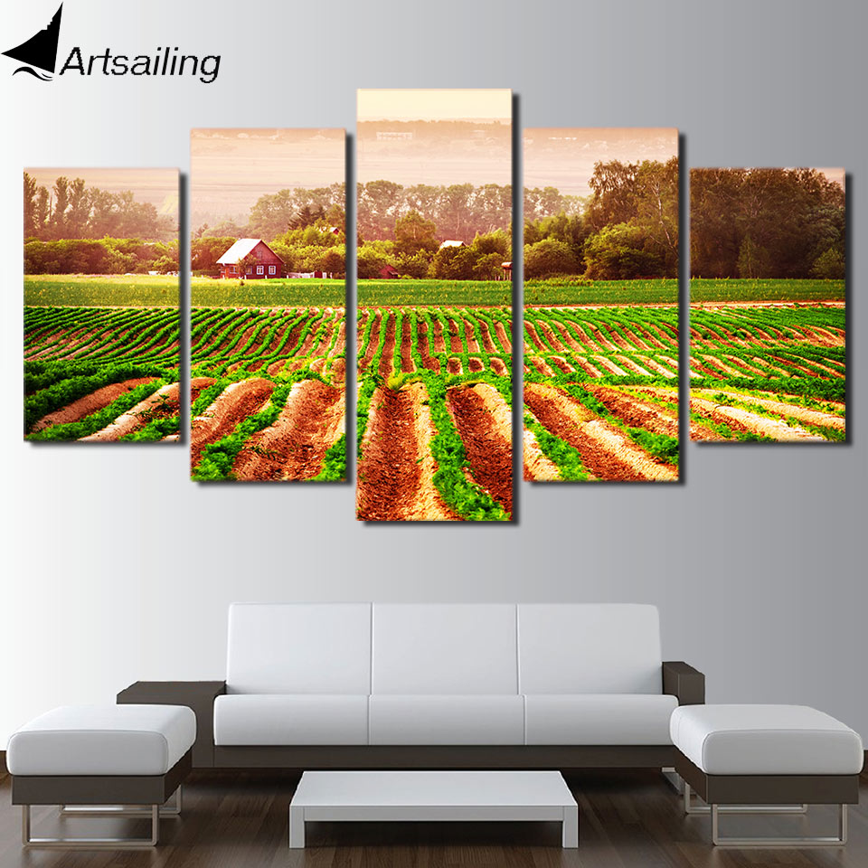 5 Panel painting Green Farm field farmer Paintings for Living Room Wall Poster Frame Unframed Home Decor NY-7698C