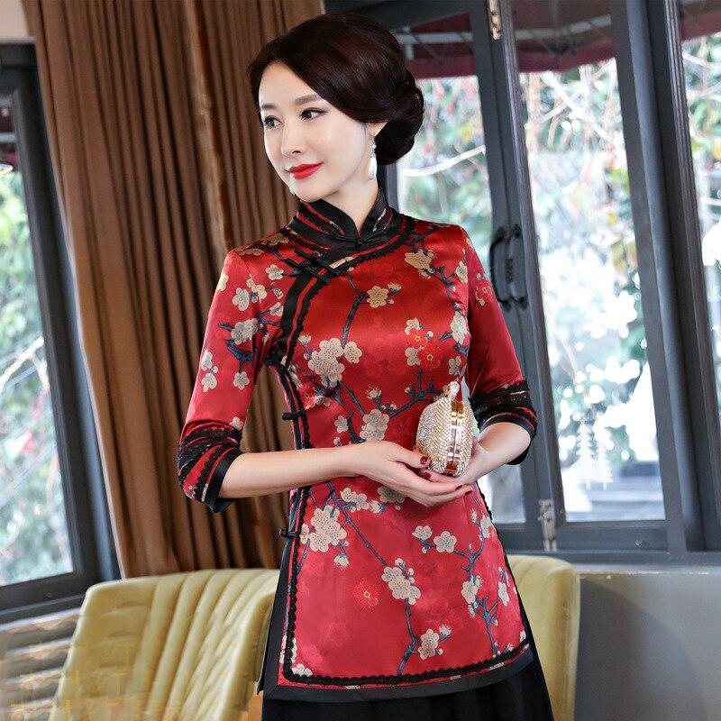 2019 été femmes chemise hauts traditionnelle chinoise dame Polyester soie Blouse col Mandarin Mujer Camisa taille S M L XL XXL XXXL