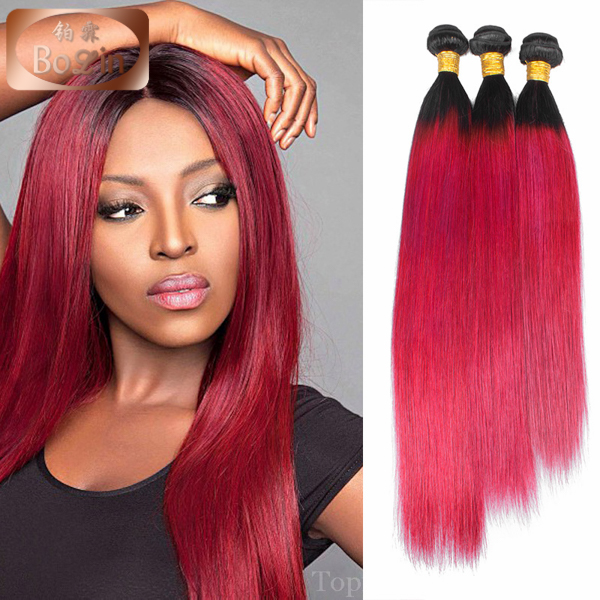 Ombre Red Brazilian Remy Hair 3 Bundles Dark Roots Red Human Hair