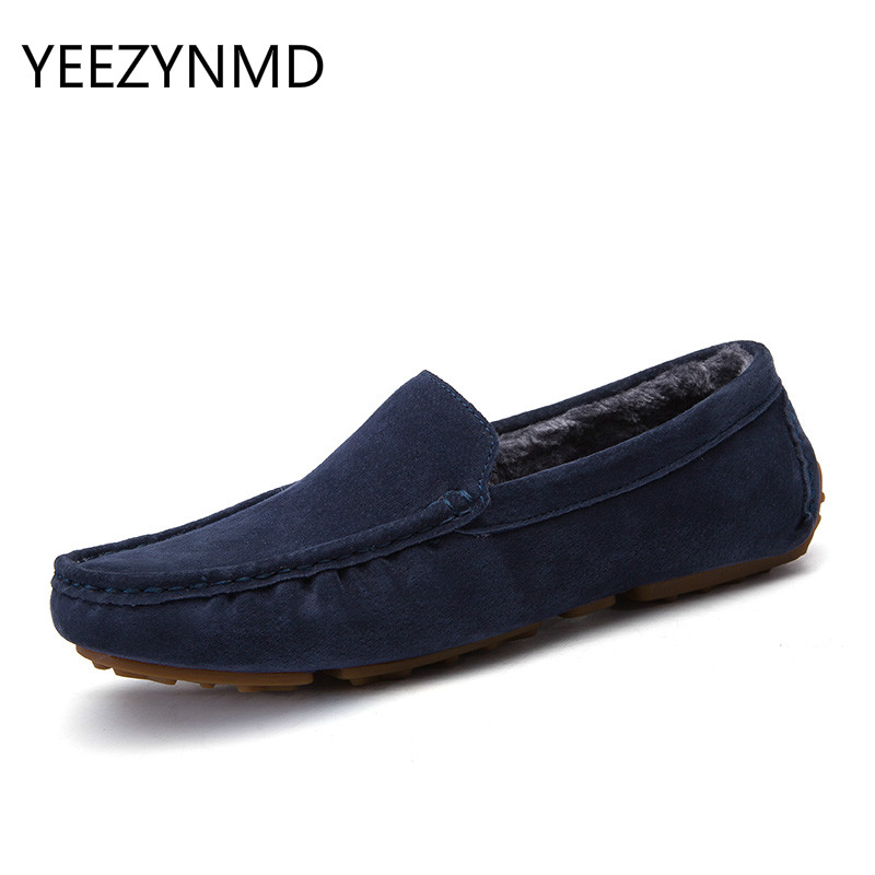 New Casual Shoes Winter Fur Men Loafers 2017 Slip On Fashion Drivers Loafer Pig Suede Leather Moccasins Short Plush Warm Shoes 2017 fashion winter flat fur shoes women rabbit fur tide lazy shoes slip on casual plus velvet loafer shoes autumn new arrival
