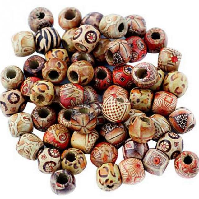 100PCs Mixed Wooden Beads Big Hole Beads Fit Charm Bracelet DIY For Jewelry Making 9x10mm