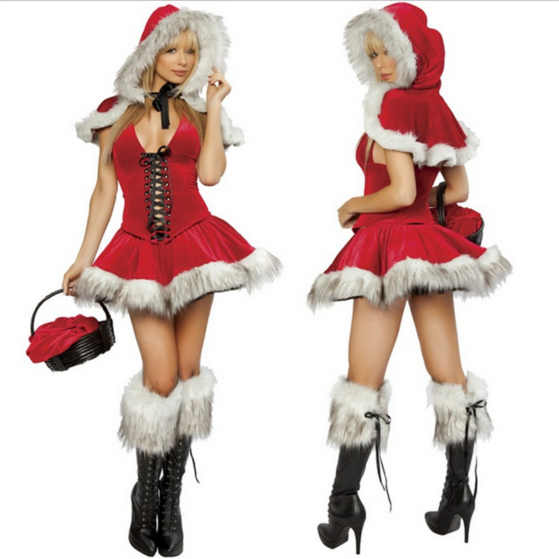 Sexy RED Xmas Dress White flash Santa Cape White plush Hot Sale New high quality Sexy Christmas Women Costume with hat wholesale