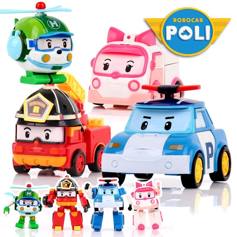 4 unids/set robocar Corea niños Juguetes robot transformación anime acción figura Juguetes para niños