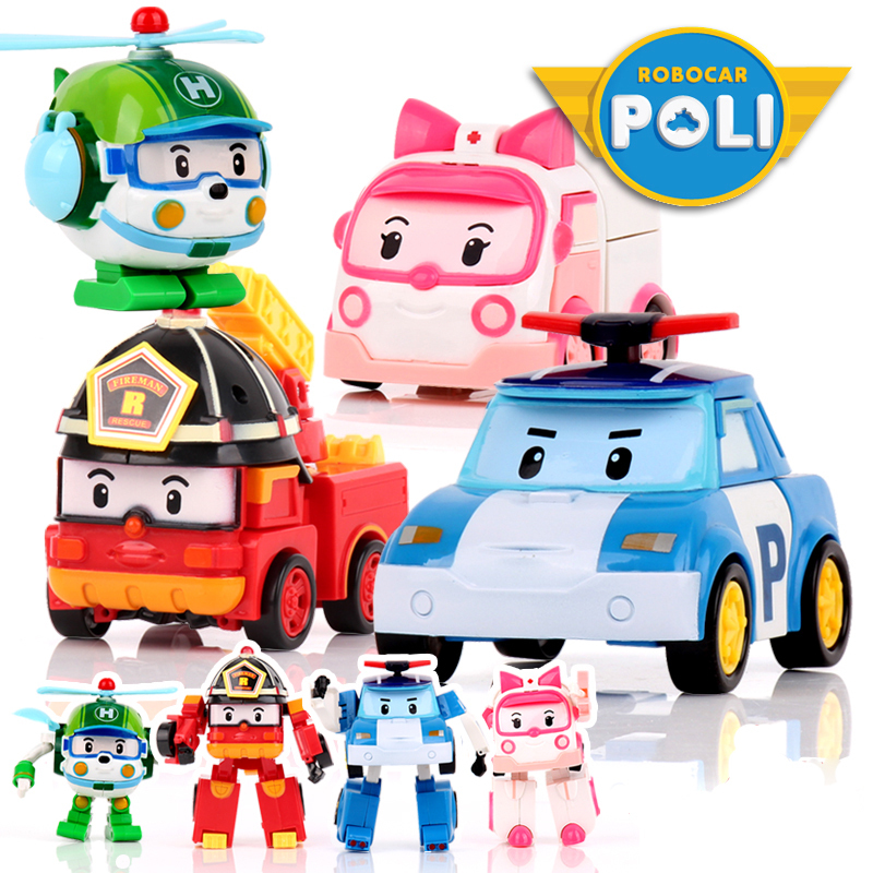 цена 4pcs/Set Robocar Poli Korea kids Toys Robot Transformation Anime Action Figure Toys For Children
