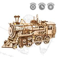 2019 Mechanical Gears 3D Puzzle Movement Assembled Wooden Locomotive LK701 Clockwork power train, children's toys