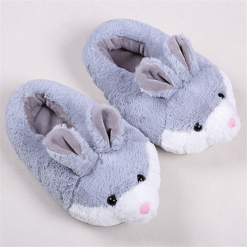SexeMara Woman Lovely Animal Slippers for Winter Warm Women's silk art Plush Rabbit Indoor Floor Home Slipper bunny slippers 3d minions slippers woman winter warm slippers despicable minion stewart figure shoes plush toy home slipper one size doll