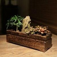 Japanese style wood burning Paulownia simulation flower pots flower pots succulents is solid wood flower pots plug