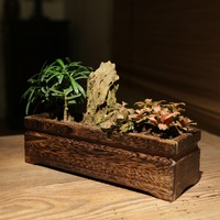 Japanese style wood burning Paulownia simulation flower pots flower pots succulents is solid wood flower pots plug
