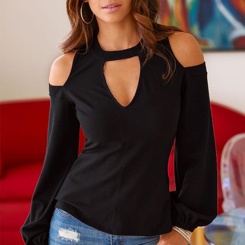 Sexy Off Shoulder Long Sleeve Solid V-Neck Blouse 2