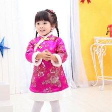 Baby Girls Dress Coat Children Outfits Tang Suit Red Peony Down Jacket