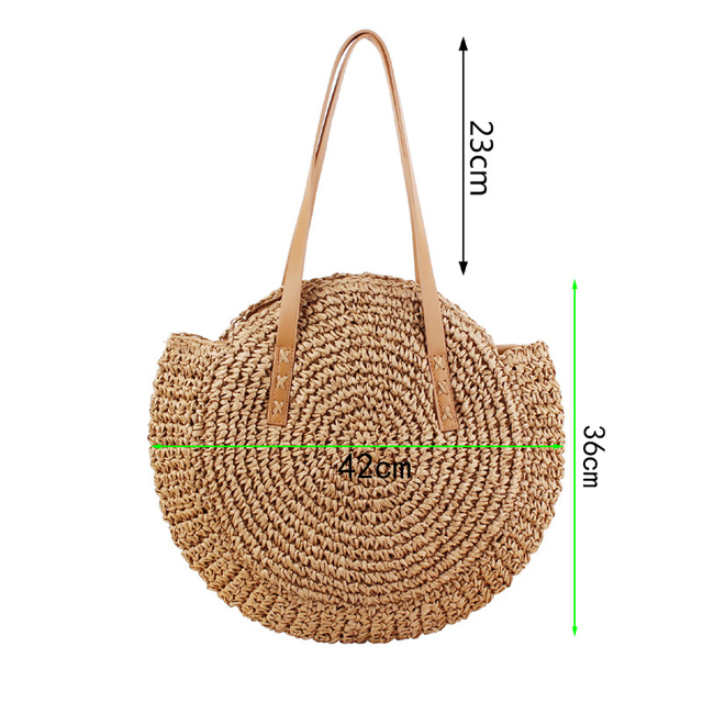 REREKAXI Hand-woven Round Woman's Shoulder Bag Handbag Bohemian Summer Straw Beach Bag Travel Shopping Female Tote Wicker Bags 4