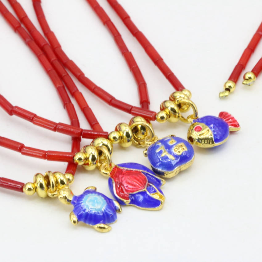 4 style natural coral red tube shape 2*7mm beads necklace earrings jewelry set gold-color cloisonne pendant chain 18inch B3241